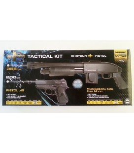 MOSSBERG Tactical Kit : Shotgun + Pistol .45 + 1000 BBs 0,12gr